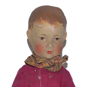 Old Doll Oil Cloth Painted Wispy Hair Jointed Cabinet Size