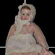 Old Doll Cloth Doll Oil Cloth Rag Doll Folk Art Ella G Smith Alabama Baby Doll Wonderful Signed body Painted on Boots