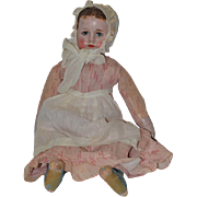 Old Doll Cloth Doll Oil Cloth Rag Doll Folk Art Ella G Smith Alabama Baby Doll Wonderful Signed body Painted on Boots