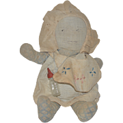 Old Doll Baby Cloth Doll Rag Doll Drawn on Features Folk Art CUTIE