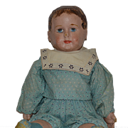 Old Doll Alabama Baby Oil Cloth Doll w/ Blue Socks and Shoes ADORABLE Large Size