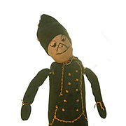 Old Doll Cloth Doll Stockinette Soldier Unusual Wonderful Face Sewn on Features Rag Doll Folk Art