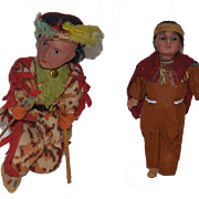 Antique Doll Set Bisque Indian Dolls Wonderful TWO DOLLS Bow & Arrow Original Clothing Native American