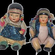 Antique Doll Bisque Miniature All Bisque Dolls Oriental Dolls CUTE Dollhouse