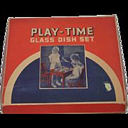 Old Doll Akro Agate Glass Tea Set Dish Set Child's Set In Original Box Play Time Glass Dish Set