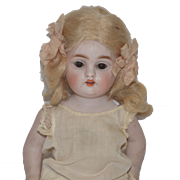 """Antique Doll Miniature All Bisque Kestner Pink Stockings 7"""" tall Sweet 150 All Bisque"""