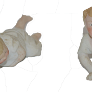 Old Doll Set Bisque Piano Baby Figurines Set of Two Babies Character