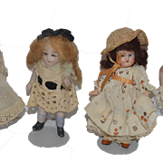 Antique Doll Miniature Dolls Bisque Lot FOUR Dollhouse Dolls WONDERFUL Dressed!