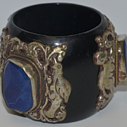 Vintage Bracelet Chunky Bangle W/ Cobalt Stone Silver Ornate