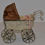 Antique Doll Carriage Pram Tin Buggy Miniature