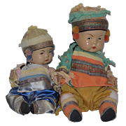 Old Doll Set Two Oriental Composition Dolls Adorable in Original Clothing