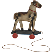Old Doll Toy Wood and Papier Mache Paper Horse Pull Toy on Wheels