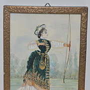 Wonderful Old Painting Water Color WaterColor Victorian Woman With Bow Amazing Miniature