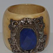 Bracelet Funky Chunky With Huge Stone Bangle Ornate Silver
