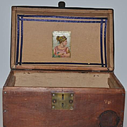 Old Doll Trunk Wood Dome Top W/ Litho Inside Early!