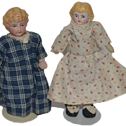 Old Doll Set China Head Dollhouse Miniatures Two Dolls Bisque
