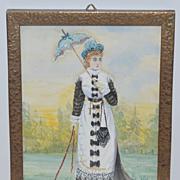 Old Watercolor Painting Victorian Lady w/ Parasol and miniature Dog On Leash Water Color Miniature Bronze Frame