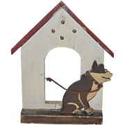 Old Dog W/ Dog House All Carved Wood Folk Art Old Tag from 1935 Disabled War Vets