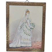 Antique Water Color Watercolor Victorian Bride Miniature Painting