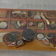 Vintage Miniature Wood Case FILLED with Old Miniatures Unusual