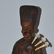 Antique Doll Wood Carved Automaton Mechanical Wind-Up Whistling Toy German 1890