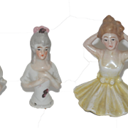 Old Doll Miniature China Head Half Doll Group Five Dolls
