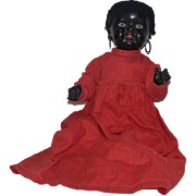 Old Doll Black Painted Bisque Baby Doll Adorable Wobbly Tongue