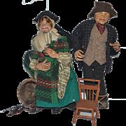 Old Doll Set Wood Carved Moving Mouth Unusual Set Peddlar Peddler