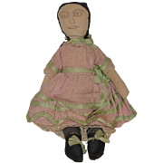 Old Doll Cloth Doll Rag Doll Drawn on Features