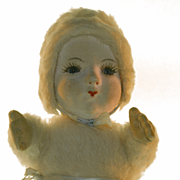 Old English Doll Norah Wellings In Rare Mohair Costume Cloth Doll Glass Eyes