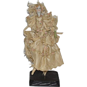 Old China Head & Cloth Miniature Doll Fancy Clothing Ballerina Miniature Elaborate