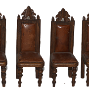 Antique Doll Dollhouse Chairs Chair Wood Leather Carved Miniature