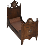 Antique Doll Wood Carved Miniature Dollhouse Bed Fancy