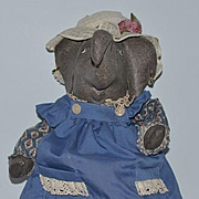 Vintage Doll Artist Elephant Oil Cloth Doll Dressed