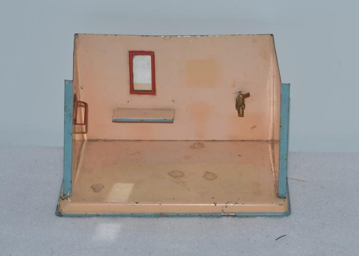 Miniature Children S Bedroom Room Box Diorama: Old Doll Tin Miniature Bathroom Dollhouse Room Box Diorama