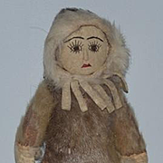 Old Doll Native American Eskimo Leather Doll Unusual Indian