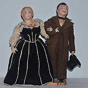 Old Doll Set Man & Lady Museum WPA Sculpted and Cloth