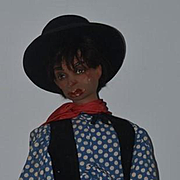 "Old Doll Unusual Doll Black Man Smoking Glass Eyes 34"" tall Wood & Composition Jointed"