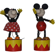 Vintage Doll Mickey Mouse Wood Push Up Toys Minnie Mouse Characters