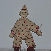 Wonderful Old Schoenhut Clown Jester Wood Carved Jointed Circus Doll