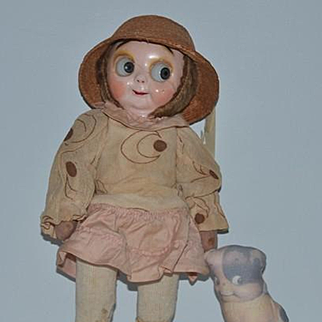 Antique Rare Doll Composition HUG ME KIDDIE Googly W/ Working Crier and Doodle Dog