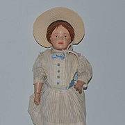 Antique Doll Schoenhut Carved Hair W/ Bow