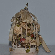 Old Miniature Doll Bird Cage For French Fashion W/ Bird