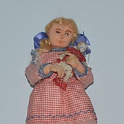 Vintage Doll Artist Doll Cloth W/ Sewn and Painted Features Holding China head