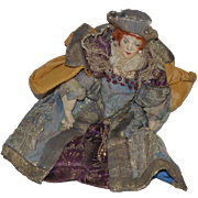 Vintage Doll Cloth Doll Character Queen W/ Elaborate Clothing