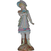 """Antique LARGE Bisque Figurine Doll Girl W/ Bird Staffordshire?? Over 18"""" Tall"""