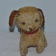 Old Doll Toy Dog W/ Button Eyes and Cracker Jack Charms around The Collar Mohair Stuffed Dog