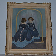 Old Doll Painting Wonderful Doll Looking in Mirror Signed