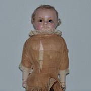 Antique Doll Papier Mache Wax W/ Wood Body