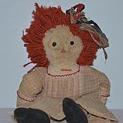 Old Doll Raggedy Ann Cloth Doll  Rag Doll Unusual